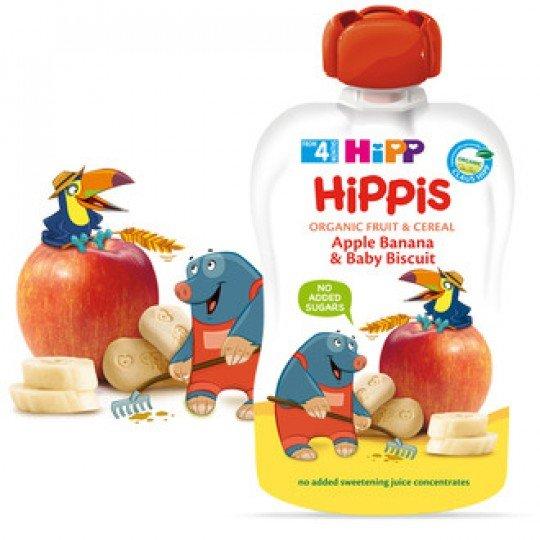 HIPP Плодова закуска Био бебешки сок ябълка, банан и бисквити